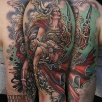 Coloured viking women and skull tattoo
