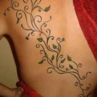 Coloured vine tattoo on back