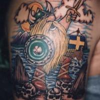 Coloured warrior viking tattoo