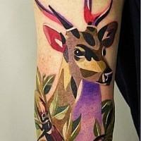cervo colorato geometrico tatuaggio