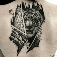 Comic books style big upper back tattoo of demonic tiger