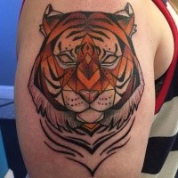 Comic books style colored upper arm tattoo of tiger mask