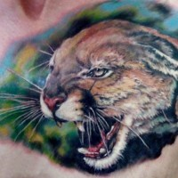 Complicated colorful ink jaguar tattoo