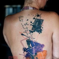 Concert ticket, guitar pieces and spider colored back tattoo in Polka trash style with lettering