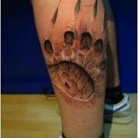 fresco 3d zampa impronto di orso tatuaggio sulla gamba