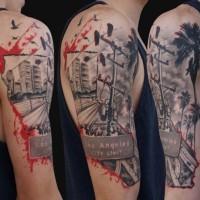 fresco foto citta americana grigio tatuaggio su spalla