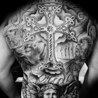 Coole Kreuz schattiert Tattoo auf dem Rücken