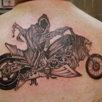 Cool death biker tattoo on back