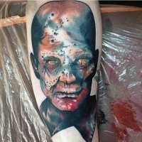 Cool designed detailed fantasy bloody zombie tattoo on forearm