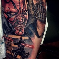 Cool designed very detailed natural colored various movie evil heroes tattoo on biceps