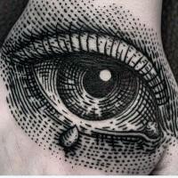 Cooler Punkt Stil schwarzes großes menschliches Auge Tattoo an der Hand
