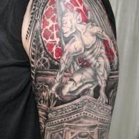 Cool gargoyle tattoo on shoulder