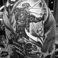 Cool hunting themed shoulder tattoo of man with bow and animal skull