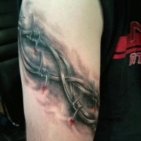 Cool idea of barbed wire armband tattoo for men