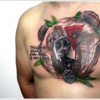 fresca idea di orso tatuaggio su petto per uomo