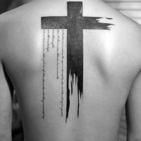 Cool idea of black watercolor cross tattoo on back