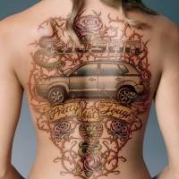 fresca idea di macchina tatuaggio sulla schiena