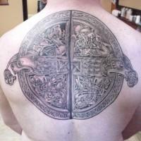 Cool idea of celtic knot tattoo on back