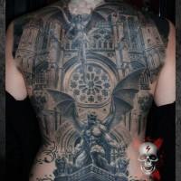 fresca idea di gargoyle tatuaggio pieno di schiena
