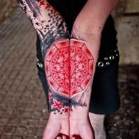 Cool idea of geometric forearm tattoo