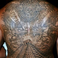 Cool idea of great pyramid and gods of aztecs tattoo on whole back