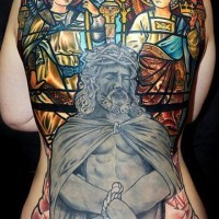 Cool idea of jesus tattoo on whole back