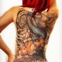 Cool idea of mermaid tattoo on back for girls
