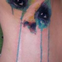 Cool idea of portrait of girl tattoo on ribs