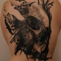 fresca idea di cranio e uccelli tatuaggio per uomo