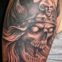 Cool idea of viking tattoo on half sleeve