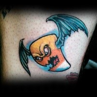 Cool illustrative style colored thigh tattoo of funny monster bat
