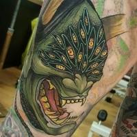 Cool illustrative style leg tattoo of evil monster face