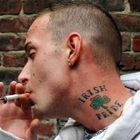 Cool irish pride tattoo on neck