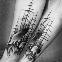 Cool linework style painted by Inez Janiak forearm tattoo of wolves in forest