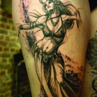 Cool looking black ink thigh tattoo of seductive tribal woman