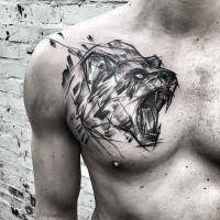 Cool painted by Inez Janiak sketch tattoo of roaring bear