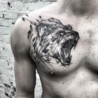 Cool gemalt von Inez Janiak Skizze Tattoo brüllenden Bären