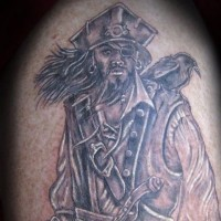 Cool painted detailed colored pirate portrait tattoo