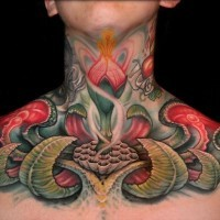 Cool painted flower fantasy throat tattoo