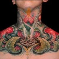carino dipinto colorato fantasia fiore tatuaggio su collo