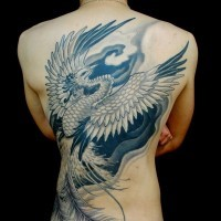 Cool phoenix tattoo on whole back for men
