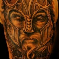 Cool portrait of a viking tattoo on half sleeve