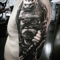 Cool realism style colored shoulder tattoo of samurai warrior portrait