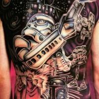 Tatuaje en la espalda, héroes de la guerra de las galaxias, dibujo colorido