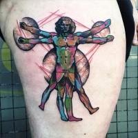 Fantastica idea del tatuaggio dell'uomo vitruviano sulla coscia