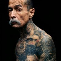 Cool various vintage famous people tattoo on whole body