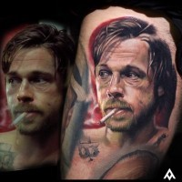 Cool very detailed old Bred Pitt movie hero portrait tattoo