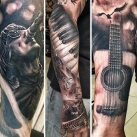 Cool very realistic looking vintage music themed tattoo on sleeve