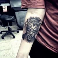Cool vintage photo like black and white Star Wars Darth Maul forearm tattoo