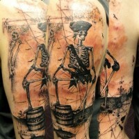 Cool vintage style colored very detailed shoulder tattoo of pirate skeleton portrait with fish